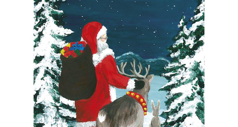 joulukortti-joulupukki-poro