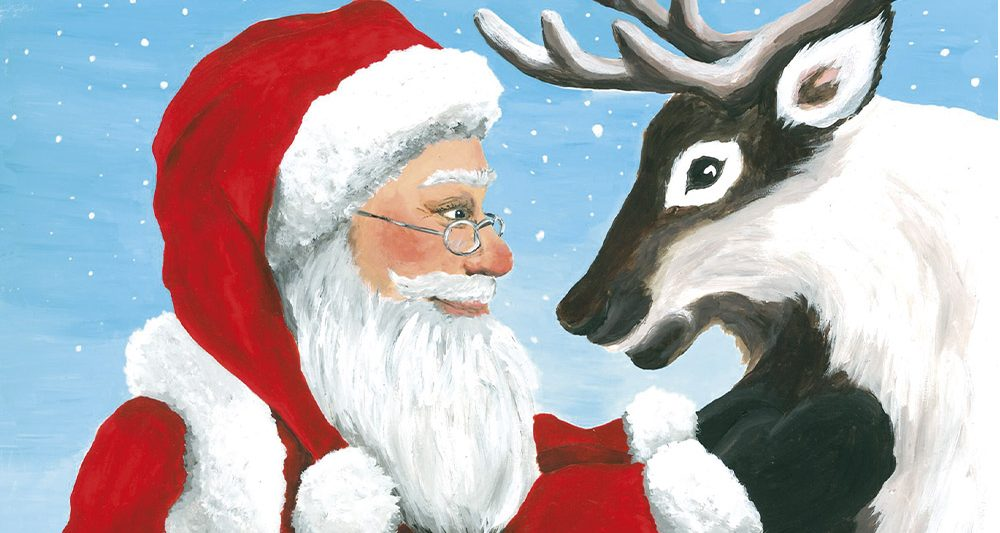 joulukortti-joulupukki-ja-poro