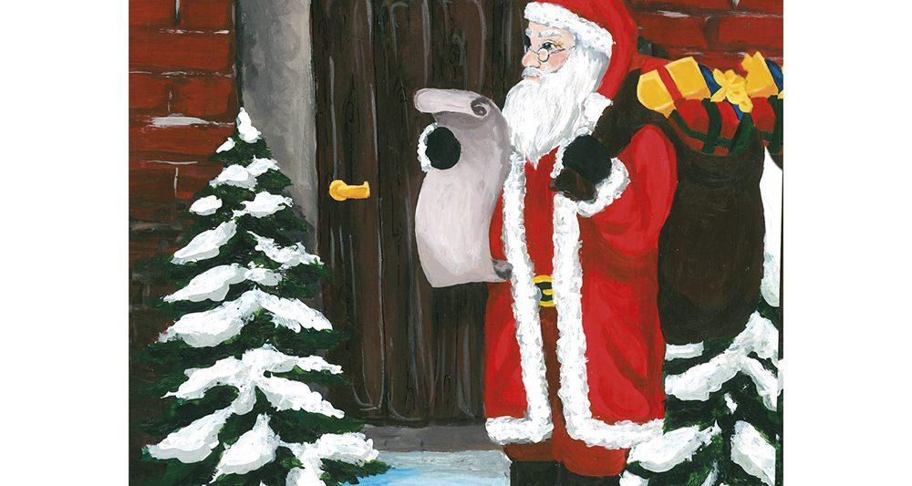 joulukortti-pukki-ovella