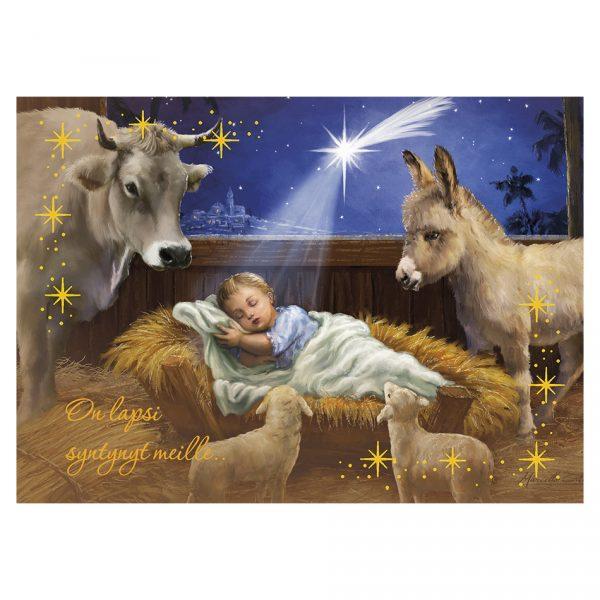 sanomallinen-joulukortti-on-lapsi-syntynyt
