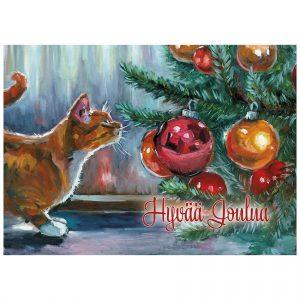joulukortti-kissa-joulukuusella