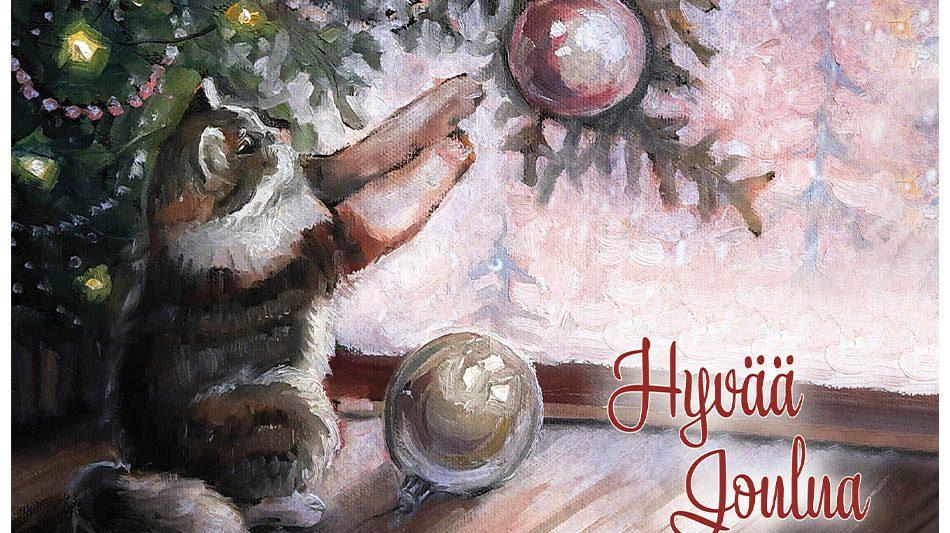 joulukortti-kissa-kurottaa