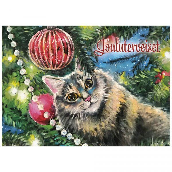 joulukortti-kissa-ja-joulukoristeet