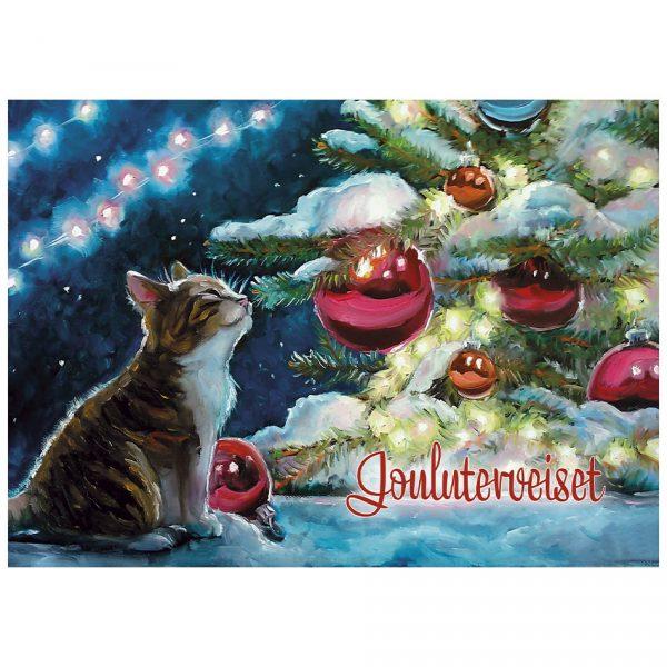 joulukortti-kissanpentu-ja-joulukuusi
