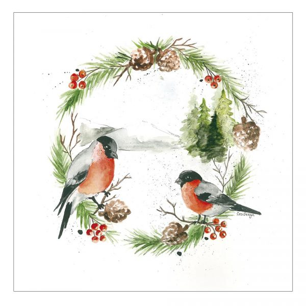 joulukortti-punatulkut-joulukranssissa-skandinaavinen-joulukortti