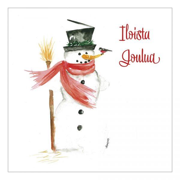 skandinaavinen-joulukortti-lumiukko