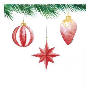 joulukortti-punaiset-kuusenkoristeet