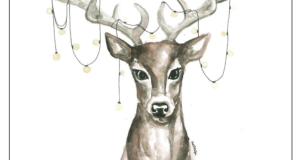 joulukortti-skandinaavinen-hirvi-jouluvalot