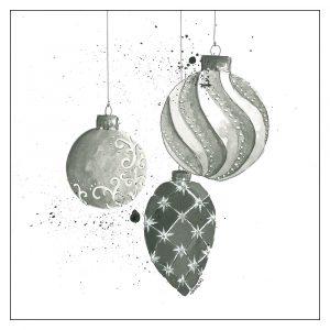 mustavalkoinen-joulukortti-joulukoristeet