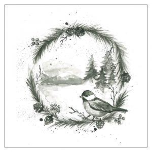 mustavalkoinen-joulukortti-lintu