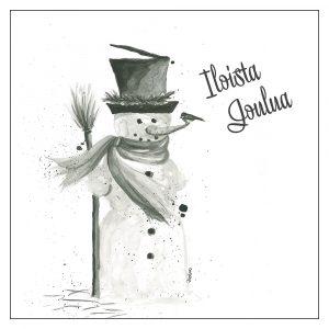 skandinaavinen-joulukortti-yksinkertainen-joulukortti-lumiukko