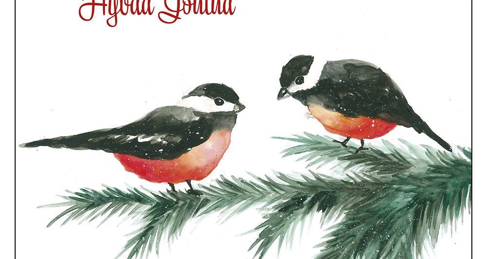 joulukortti-linnut-kuusen-oksalla