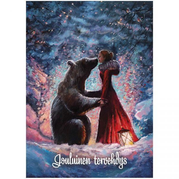 joulukortti-tyttö-ja-karhu