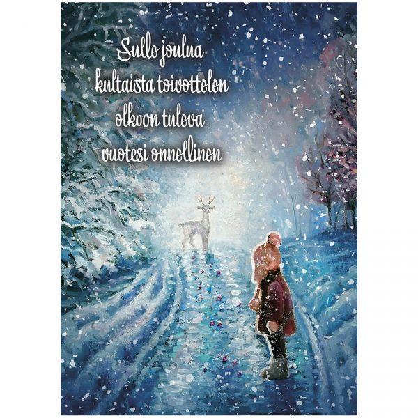 joulukortti-lapsi-lumisateessa