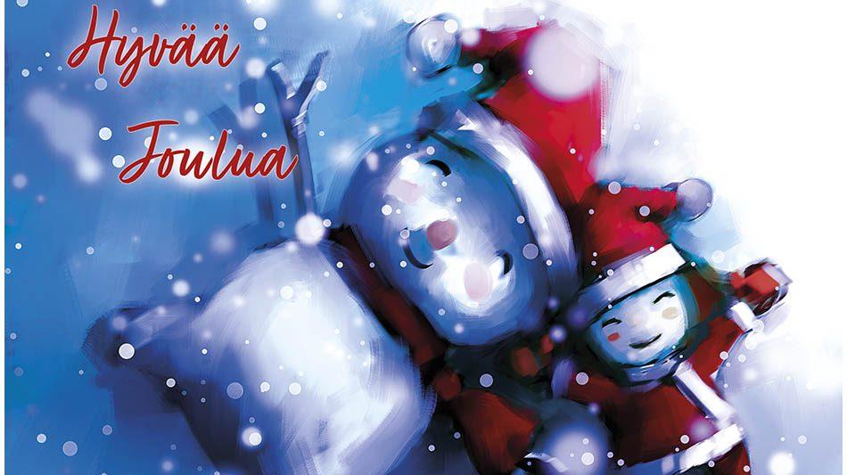 Joulukortti-lumienkeli