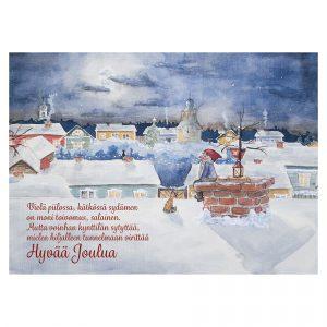 joulukortti-tonttu-kuunvalossa