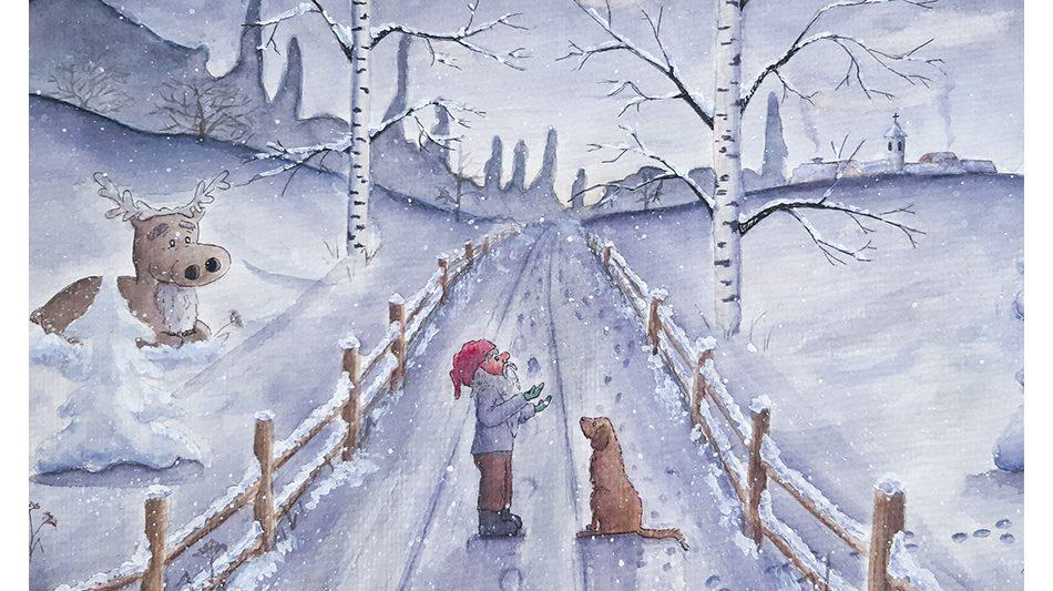 joulukortti-tonttu-matkalla