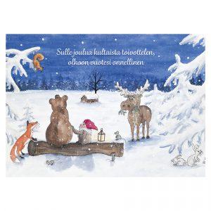 joulukortti-tonttu-ja-metsanelaimet