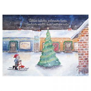joulukortti-tonttu-joulupuuhissa