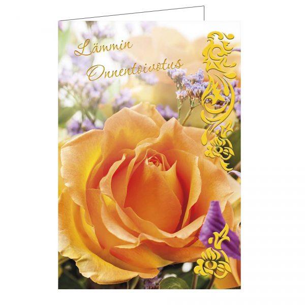 onnittelukortti-oranssi-ruusu