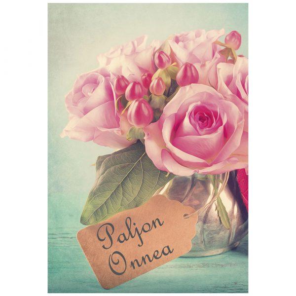 kukkakimppu-onnittelukortti-taittokortti-kirjekuorella