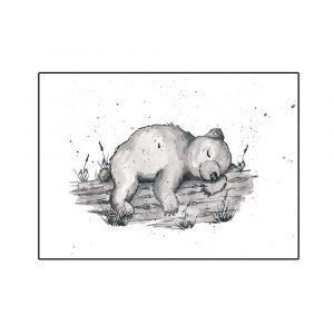 karhu-nukkuu-sisustusjuliste-lastenhuoneeseen