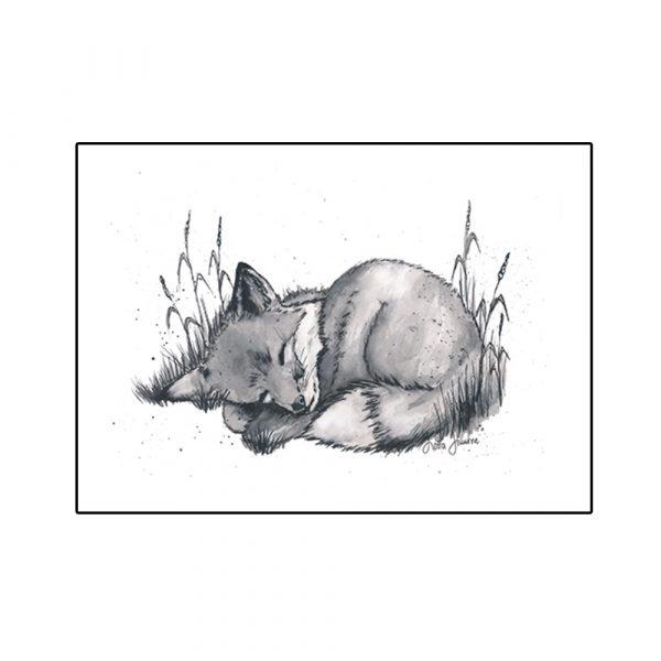 kettu-nukkuu-juliste-skandinaaviseen sisustukseen