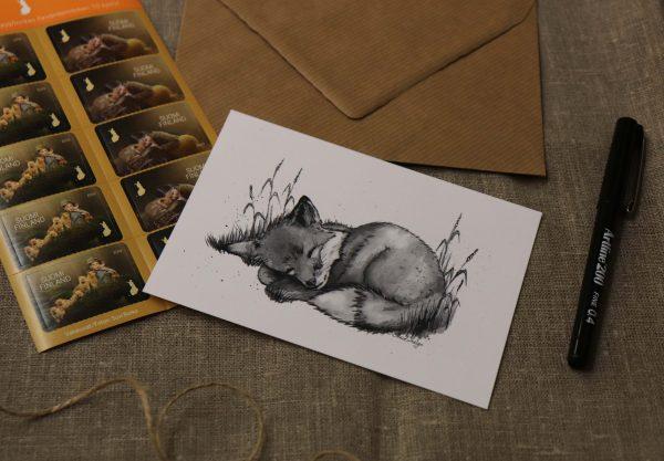kettu-kortti-postikortti-kettu-nukkuu