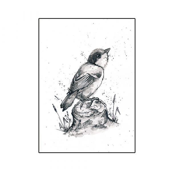 juliste-lintu-kannolla